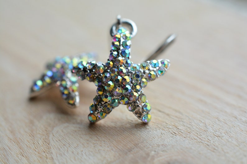 Ocean Earrings Small Earrings Rhinestone Earrings Sparkly Earrings Starfish Earrings Beach Jewelry Summer Earrings Small Earrings