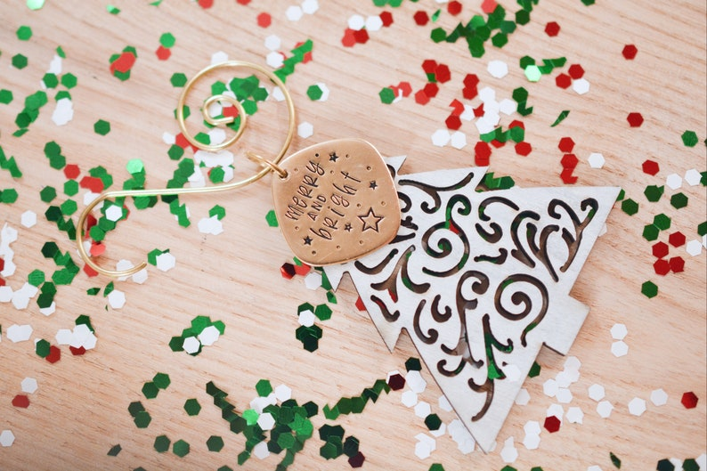Wooden Tree Ornament Hand Stamped Stamped Ornament Christmas Ornament Christmas Gift Tree Ornament Wooden Ornament Christmas Decor