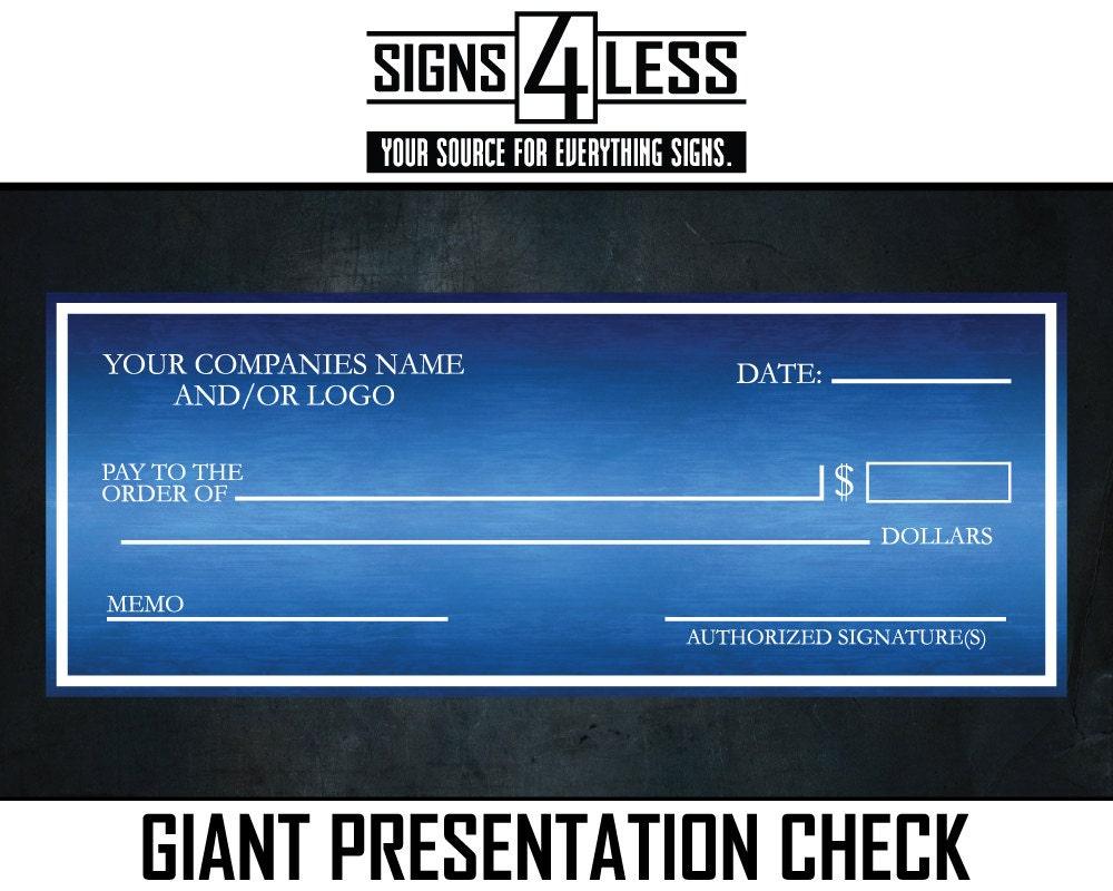 Cheque gigante presentación verificación | Etsy