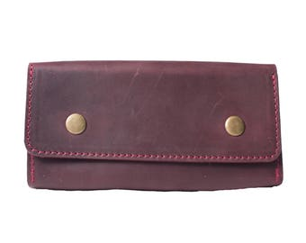 Travel wallet women, leather wallet, cool leather wallets, womens wallet, billfold wallet, coin wallet, purse, handmade wallet, purple-red