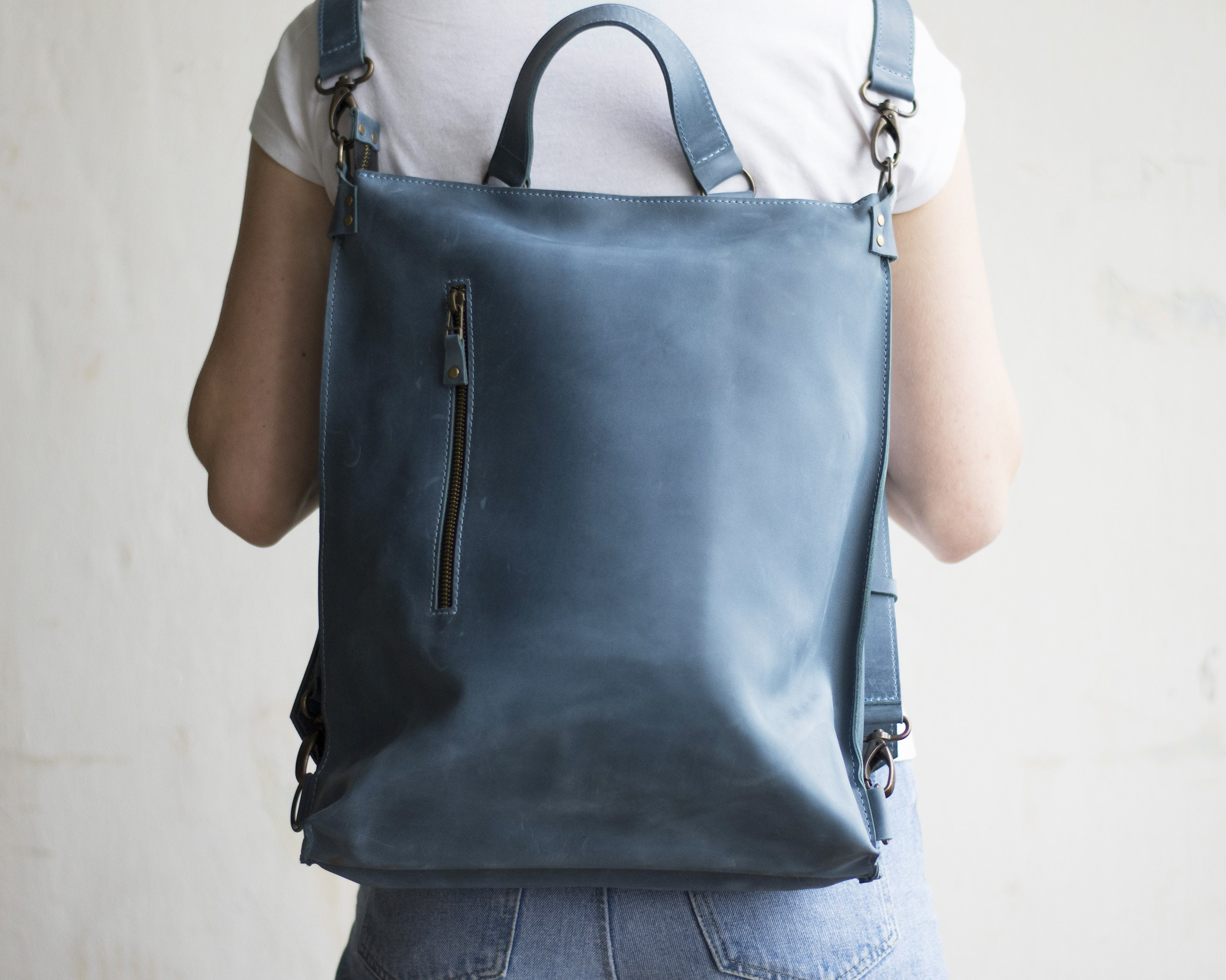 699fcca92f8 Light Blue Leather Backpack Purse – Patmo Technologies Limited