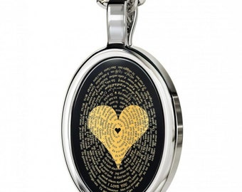 I LOVE YOU  in 120 languages.  24K gold detail and set in a sterling silver with oval frame
