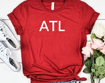 198085f40 ATL Atlanta Women s T-Shirt Airport Code White - Comfortable Triblend Tees