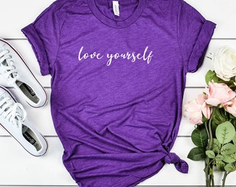 47254443 Love Yourself Women's T-Shirt Inspirational Quotes White - Comfortable Triblend  Tees