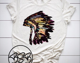 1fd7a9be Native American headdress tee / indian headdress tee / Native American  headdress graphic tee / indian headdress t shirt / indian headdress