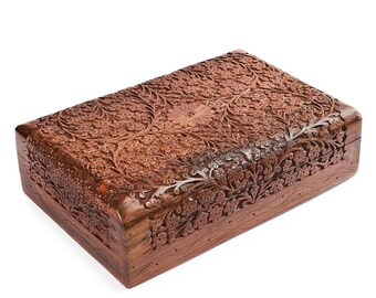 082a71ac8 Indian Handmade - Indian Wooden Jewelry Box/Intricate Carved Decorative  Storage Organizer/Floral Design Sheesham Trinket Chest 10 x 6 in