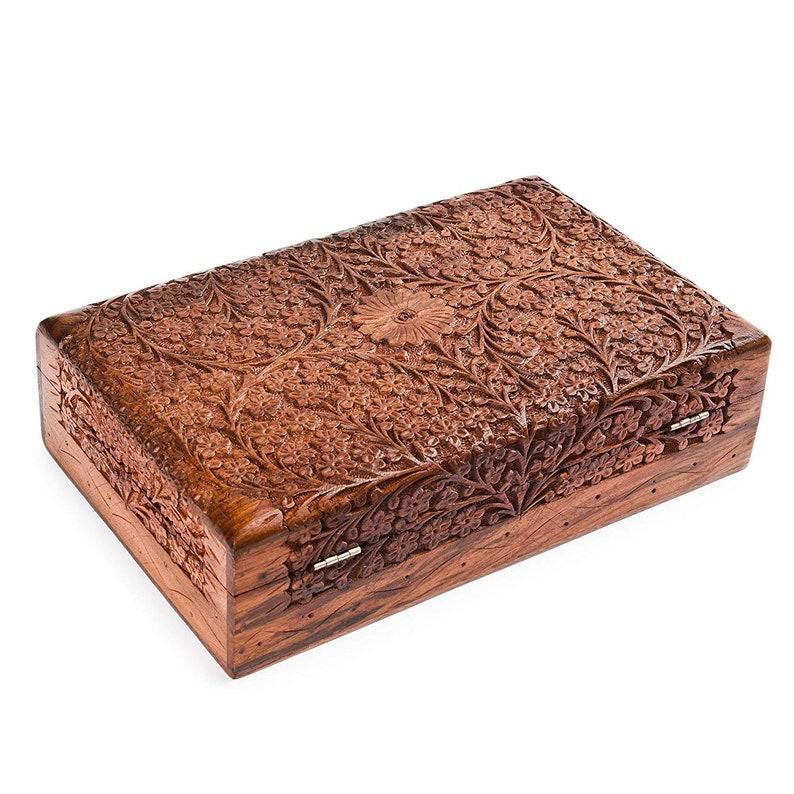 Wood Decorative Memory Box Keepsake box Jewelry Box - Christmas Gifts Handmade Jewelry Storage Box 12x8in