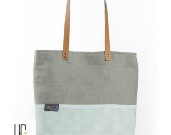 Blue and gray graphic bag