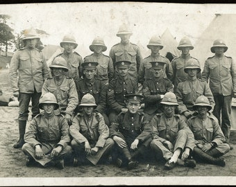 9fb86bfb9ee1e WW1-era soldiers in amazing uniforms and tents-real photo postcard RPPC  with ID on back