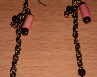 Earrings pink coral and bronze