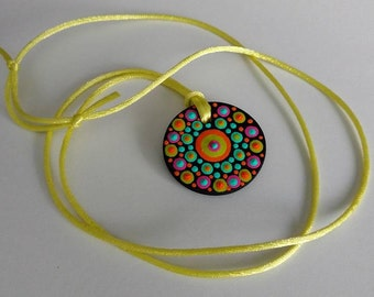 FREE SHIPPING / Hand Painted Necklace / Mandala / Dot Jewelry / Mandala Art / Dot Painted Pendant / Painted Wooden Necklace #A4