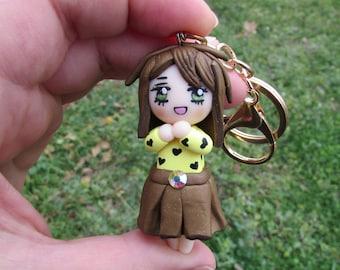 Heart Girl, Polymer Clay, Chibi Girl Keychain