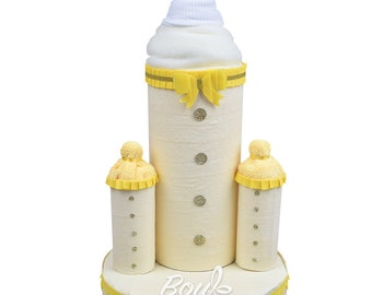 Baby Bottle Trio Nappy Cake, Diaper Cake, New Baby Gift, Baby Shower Gift and Centrepiece