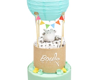 Hot Air Balloon Nappy Cake, Diaper Cake, New Baby Gift, Baby Shower Gift and Centrepiece