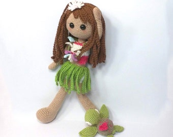 Hawaii-style crochet doll / Amigurumi doll / Crochet doll / Hawaiian doll / Unique and original doll / Island style