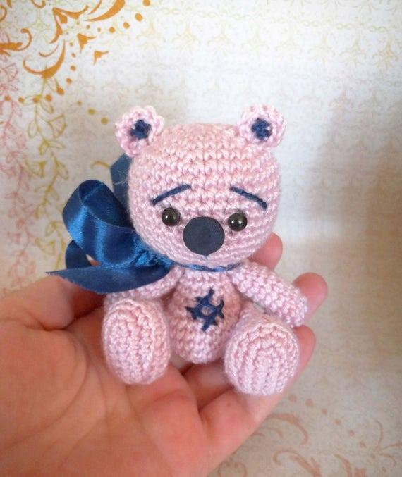 Rosa Bär Häkeln Häkeln Puppe Bär Amigurumi Mit Schleife Etsy