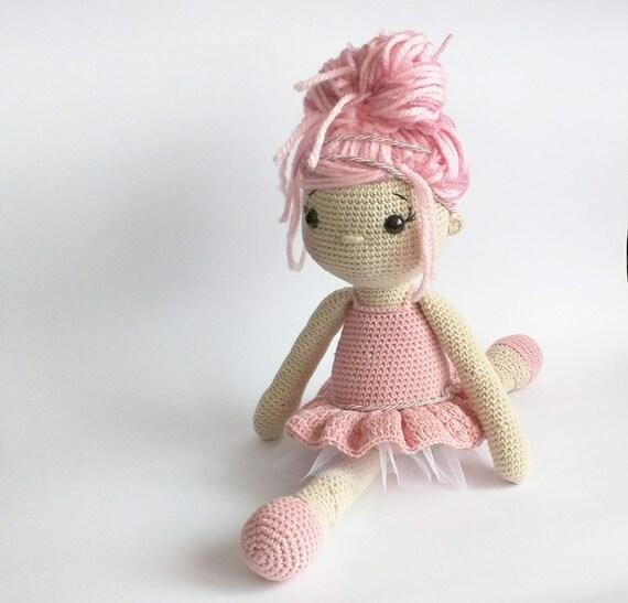 Ballerina Pink Puppe Häkeln Amigurumi Puppe Puppe Häkeln Etsy