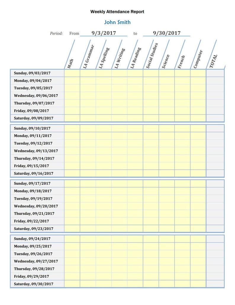 Homeschool Attendance Tracker | Editable | Printable | MS Excel