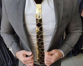 Dapper Gold Style Tie - Honeycomb Style ( Father's day gift-NeckTie, Hex Neck tie Style, gifts for him/husband/boyfriend,Best Selling gift)