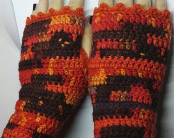 Autumn leaves fingerless gloves - arm warmers - wrist warmers - autumn colours