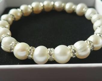 Brides bracelet, bridal pearl bracelet, rhinestones and freshwater genuine pearls, bridesmaid bracelet, flower girl