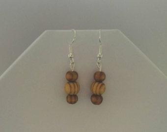 Wooden earrings, wood bead drop earrings, natural earrings, sterling silver, 925 silver