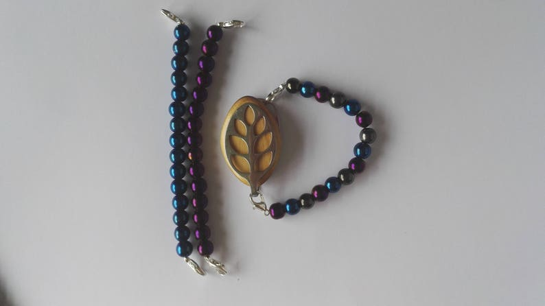bracelet with tricolour electroplated beads to wear with Bellabeat Leaf elasticated or on a wire bellabeat anklet Bellabeat Bracelet