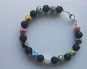 Millefiori and lava rock aromatherapy diffuser bracelet to use with essential oils