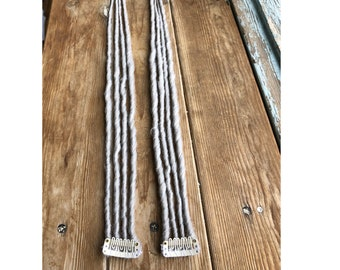 Light grey dreads clip in synthetic hair dreadlocks hair extensions on clip