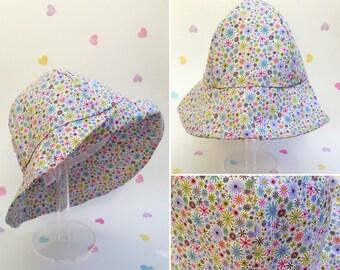Girls Sun Hat, Flower Print Hat, Baby Hat, Summer, Cotton Sun Hat, Floral Hat, Summer Wear, Cute Children's Hats, Girls Accessories, Holiday