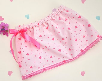 Pink Baby Girl Skirt, Love Heart Skirt, Pink Baby Skirt, Girls Clothing, Heart Print Skirt, Baby Skirt, Cotton, Elasticated, Bow, Pink Lace