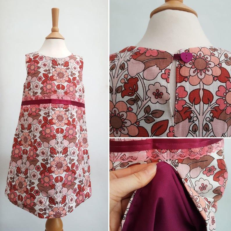 c7ac31717435 Retro Toddler Dress Vintage Floral Dress Plum Girls Dress | Etsy