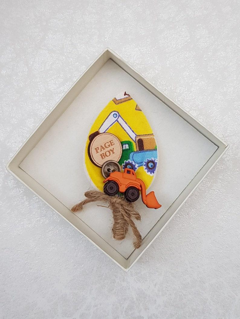 Wedding Accessory Little Boy Page Boy Boutonniere Dumper Truck Gift Boys Digger buttonhole Wedding Keepsake Kids Buttonhole Novelty