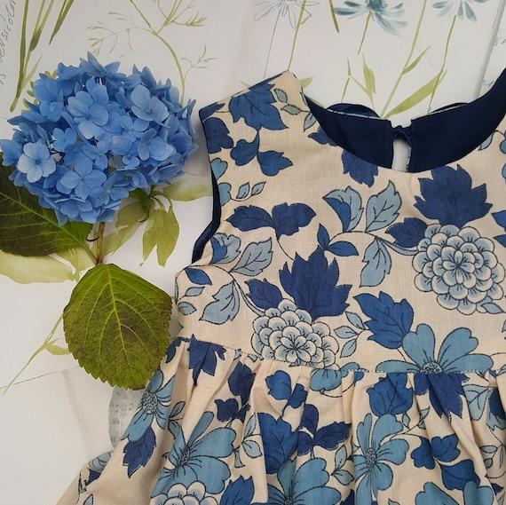 36920c40ae0e Baby Girl Vintage Floral Dress Blue Baby Dress Toddler | Etsy