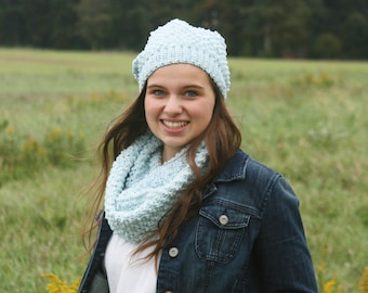 e5c82cf5ee3 CROCHET PATTERN   bobble hat and cowl crochet set   textured slouchy beanie  and cowl   easy pattern