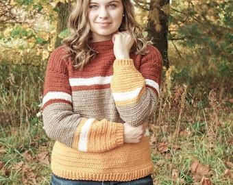 CROCHET PATTERN / Easy color block crochet sweater pattern