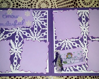 Handmade 12x12 Scrapbook Snow Pages