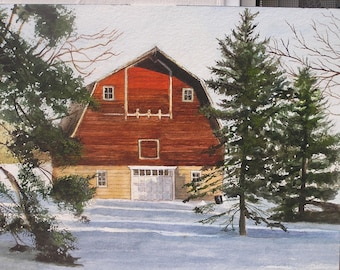 Red barn amongst pine trees in winter