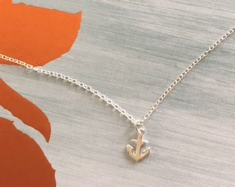 0dab9cb9ba1e Tiny Sterling Silver Anchor Necklace in Gift Box - Nautical Sea