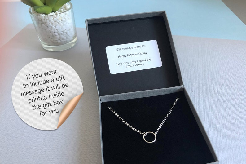 Gift Friend Sister Bridesmaid Thank you Dainty Sterling Silver /& Rose Gold Double Circle Karma Necklace in gift box Choker Necklace