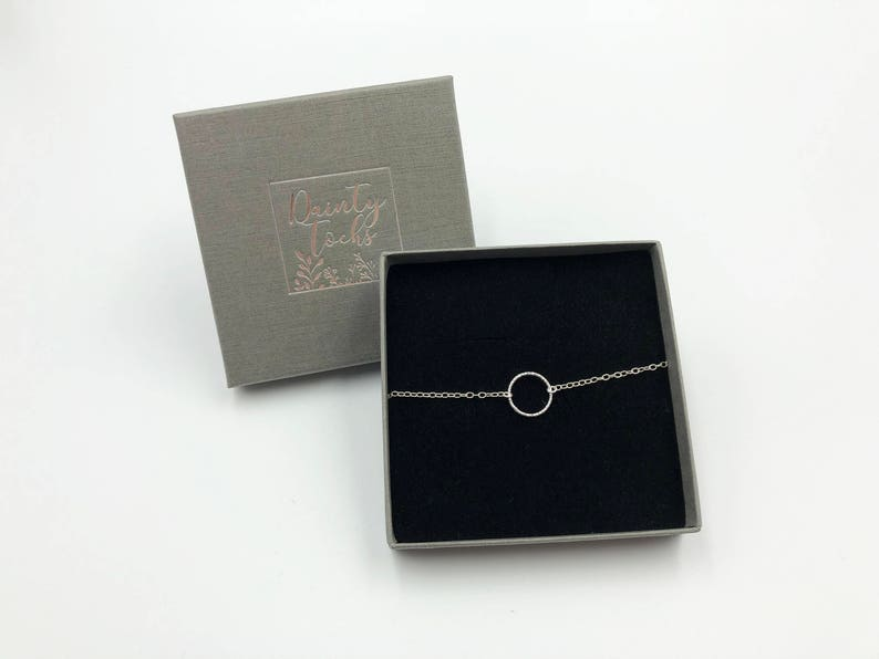 Dainty and small Silver Circle Karma Bracelet Bridesmaid Gift