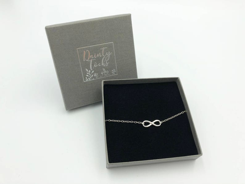 Karma Small Gift Bridesmaid Gift Friend Sister Bracelet Silver Infinity Love Dainty Sterling Silver Infinity Bracelet in Gift Box