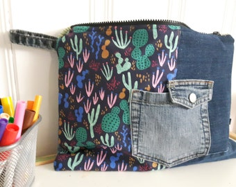 Clutch, recycled denim, cactus