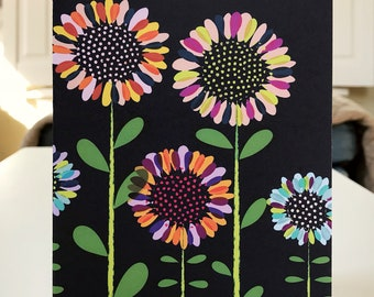 """5x7 greeting card with envelope """"birthday flowers"""""""