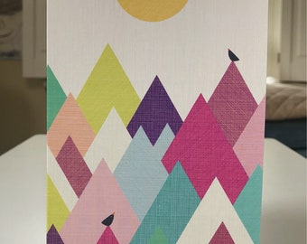 """5x7 greeting card with envelope """"Take me to the Mountains"""""""