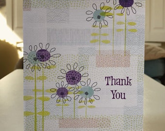 """5x7 greeting card with envelope """"wild flower thank you"""""""