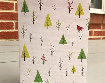 """5x7 greeting card with envelope """"Little Red Holiday Bird"""""""