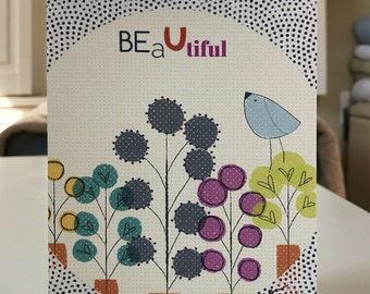 "5x7 greeting card with envelopes ""BeaUtiful - polka"""