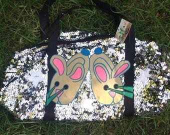 Silver sequin bunny wabbit small duffel bag