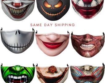 Scary Face Mask Covering, 3D Printed, Horror, Scary Mouth, Reusable, Adult, Unisex, boy, Teenager, IT Clown